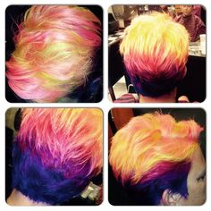 Kenra Color Creative work by Tess Lugo. #YellowHair #BlueHair #PurpleHair #PinkHair