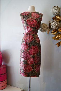 50's Dress// Vintage 1950's Metallic Rose Garden by xtabayvintage, $198.00