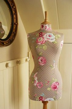Polkadot Vintage Floral Print Mannequin by @CorsetLacedMannequin, £190.00