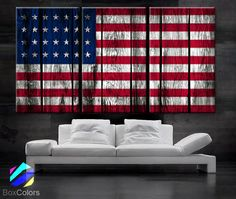 """LARGE 30""""x 60"""" 3 Panels Art Canvas Print Original American flag Glory Old wood texture Wall decor Home interior (Included framed 1.5"""" depth)"""