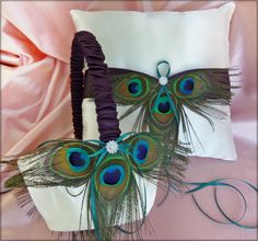 Peacock Wedding Pillow and Basket Lapis and Teal Accessories