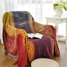 amorus Chenille Jacquard Tassels Sofa Throw Cover, Throw Blankets for Couch Bed Decorative Sofa Slipcover Protector Soft Chair Cover - Colorful Tribal Pattern (L) Chenille Blanket, Sofa Blanket, Throw Blankets, Sofa Throw Cover, Sofa Covers, Blanket Cover, Square Blanket, Vintage Sofa, Tribal Bedding