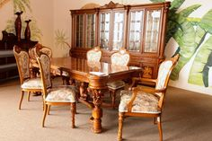 Hand Carved Dining Table w/ 6 Chairs & Large Buffet/Hutch - Colleen's Classic Consignment, Las Vegas, NV - www.colleenconsign.com