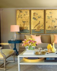Lovely interior with framed wallpaper panels. Living Room Colors, My Living Room, Living Room Decor, Small Living, Modern Living, Dining Room, Framed Wallpaper, Wallpaper Panels, Diy Inspiration