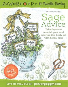 Sage Advice clear polymer stamp set by Marcella Hawley featuring herbs like rosemary, thyme, marjoram, and sage with witty sayings for cardmaking, crafts, and scrapbooking. Handlettered and illustrated rubber stamps.