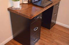 Create a simple desk out of file cabinets and a wood top...table leaves work great! :D
