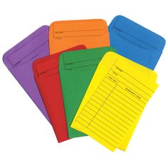 Color-Code Library Cards - Two-sided cards include spaces to write in borrowers' names and dates. 600 cardstock cards include 100 each of red, orange, yellow, green, blue and purple. Contains 30% post-consumer recycled material and is made in the USA. Matching self-adhesive pockets and Laminated Coding Dots sold separately.