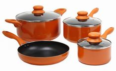 Gibson Colorsplash Branston 7 pc Cookware Set- Orange >>> Check out the image by visiting the link. Cookware Set, Gibson Home, Pots And Pans Sets, Orange Kitchen, Orange House, Pan Set, Roasting Pan, Joss And Main, Zucchini