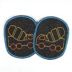 Knieflicken aus Jeans mit Betonmischer.