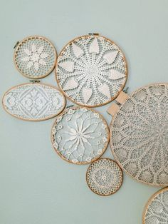 These lace wall hangings are so gorgeous! Totally inspired for our nursery!