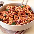 Farfalle with Sausage, Tomato & Cream... we really liked this one! It's so quick (& easy,too)! I added a teaspoon, or more of sugar, just to offset the acidity a bit more.  We'll be having this again!