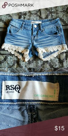 Scallop lace crochet lace jean shorts Stretchy. Like new. Tilly's Shorts Jean Shorts