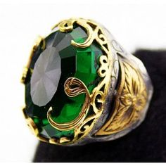 Sterling silver 925 and bronze ring , Ottoman emperor jewelry VAV pattern men or women ring,ct. emerald stone