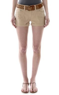 Belted Twill Short In Khaki