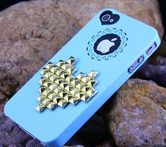 Studded Heart Iphone 5 Case, Studded iPhone 5Case with Golden Studs,Unique Iphone 5 Cases