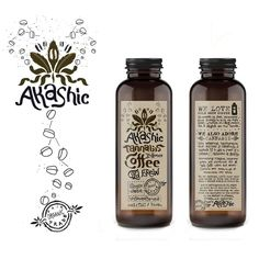 Product label design by Martis Lupus for cold-brew cannabis-infused coffee manufacturer. A hand illustrated design transforming pot leaves and typography in the style of coffee liquid. Label Design, Box Design, Packaging Design, Graphic Design, Packaging Ideas, Cannabis, Logo Samples, Product Label, Hand Illustration
