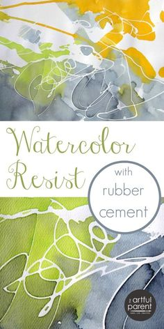 Create unique and trendy abstract art using the watercolor resist technique with rubber cement. #diy #walldecor