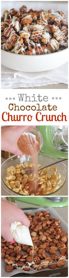 White Chocolate Churro Crunch…the ultimate snack mix! Can't stop eating![EXTRACT]White Chocolate Churro Crunch…the ultimate snack mix! Can't stop eating![EXTRACT]White Chocolate Churro Crunch…the ultimate snack mix! Can't stop eating! Yummy Snacks, Yummy Treats, Healthy Snacks, Sweet Treats, Snack Recipes, Dessert Recipes, Cooking Recipes, Yummy Food, Healthy Cereal