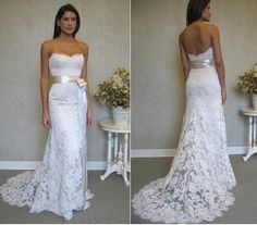 elegant strapless sheath lace wedding dress with sash. $278.00, via Etsy.