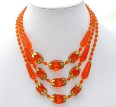 ART Deco Czech Glass Necklace Orange Bead Multi 3 Strand Gilded Antique Estate | eBay