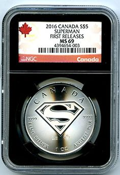"""2016 Canada Superman Man of Steel 1 oz Silver Coin - The Superhero has his own 2016 coin 1 oz of fine silver. The Superman """"S"""" shield on the Reverse."""