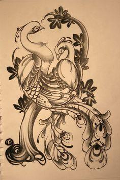 peacock 1/2 sleeve by ellvee, via Flickr