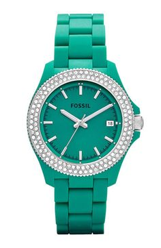 fossil watch, emerald