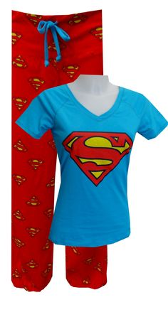 DC Comics Supergirl Pajama Set, $30 Calling all Supergirls...these are the jammies you have been waiting for! This pajama features a classic Supergirl logo design on a blue v-neck top. The pant has a wide waistband with a drawstring tie and is capri length with elasticized bottom edge. Junior cut. Totally awesome! Embrace your inner hero!