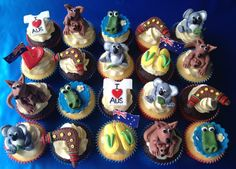 "Australia Day Cupcakes Happy Australia Day From ""Cupcakes For You"" Cake Icing, Fondant Cakes, Cupcake Cakes, Cup Cakes, Australia Cake, Happy Australia Day, Beach Cupcakes, Cute Cupcakes, Australian Party"