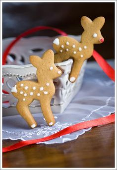 Rudolph shaped cookies with white spots!