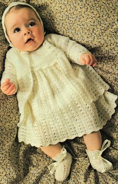 Baby Layette, Jacket, Dress, Bonnet And Bootees, Crochet Pattern. 3 Ply Yarn. To Fit Underarm Size: 35 - 45 cm / 14 - 18. Crochet Hook Size: 3.00 mm / No. 10. This is a PDF file ONLY of the original pattern book. NOT THE ORIGINAL PATTERN BOOK, COPY ONLY This is NOT THE FINISHED