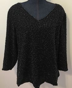 Dressbarn Woman Collection Plus Size 20 Fancy Black Sequined Evening Wear Top #NYCollection #Blouse #EveningOccasion