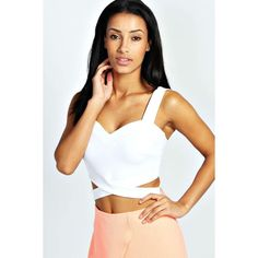 Boohoo Night Sally Cut Out Bralet ($20) ❤ liked on Polyvore featuring tops, white, strappy bandeau top, white surplice top, cut-out tops, party tops and flat top