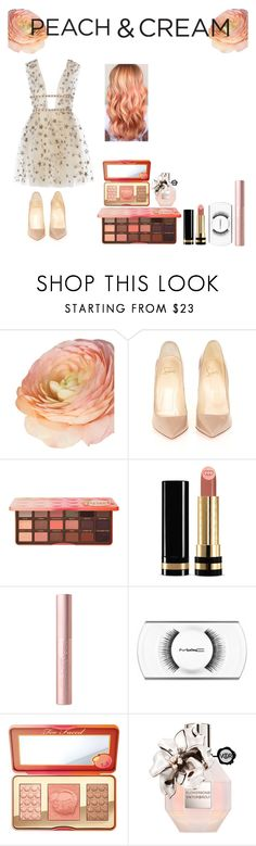 """Peach & cream"" by aliss-15 ❤ liked on Polyvore featuring beauty, Christian Louboutin, Too Faced Cosmetics, Gucci, Viktor & Rolf, peach, polyvorecontest and peachlipstick"