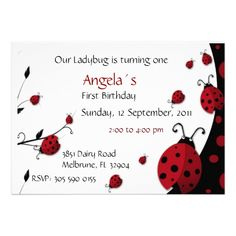 Ladybug Red Black First Birthday Invitation
