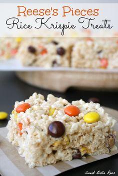 Reese's Pieces Rice Krispie Treats- an easy, festive Fall treat!