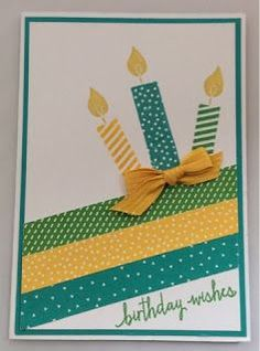 handmade birthday card from Linda's Craft Room ... washi tape stripes and matching candles ...