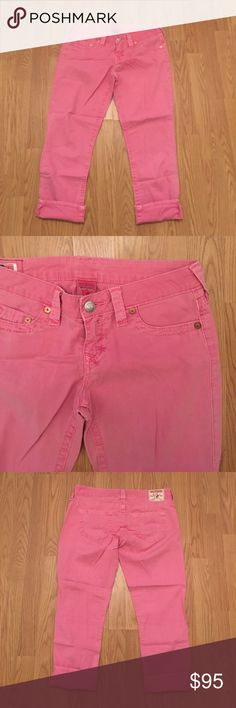 Pink true religion crops True religion brand jeans. Pink crops. Worn a couple of times. Perfect condition. I like rolling up the bottom (shown in the pics). Willing to deal. True Religion Pants Capris