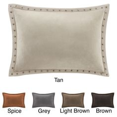 Madison Park Stud Trim Suede Feather Down Filled Oblong Throw Pillow   Overstock.com Shopping - The Best Deals on Throw Pillows