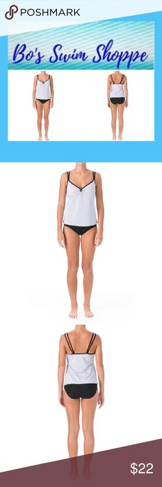 Silver O-ring Tankini Swimsuit NWT $78 size 14 Chic tankini brand new with tags, it has never even been tried on. Spaghetti straps. Tankini top is lightly padded and bottoms provide full coverage. Please browse through my swim shoppe and buy 2 and get 15% off and buy 3 or more items from my entire shop and get 20% off the total. Swim One Pieces