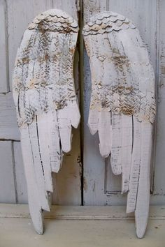 Large wooden wings white angel wall sculpture by AnitaSperoDesign, $180.00