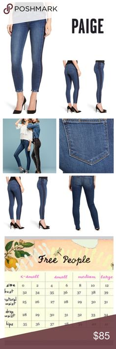 """Anthropologie Paige Verdugo Side Stripe Jeans. NWT Anthropologie Paige Verdugo Ankle Side Stripe Raw Hem Skinny Jeans, 80% cotton, 19% polyester, 1% elastane, machine washable, 28"""" waist, 8.5"""" front rise, 13"""" back rise, 27.5"""" inseam, 10"""" leg opening (all around), mid-rise, fit true to size, stretchy, raw frayed hemline, eye catching stripe down each side, fading, whiskering, lightweight thin stretchy denim, five pockets, belt loops, measurements are approx. NO TRADES Anthropologie Jeans…"""