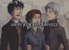 We're jealous of Tessa, because of Cassandra Clare's creation of two wonderful and beautiful men! <<< She also got an Herondale to fall for her like that shits rough to accomplish and jem can just leave ok no will is better -R Mortal Instruments Books, Shadowhunters The Mortal Instruments, To The Bone Movie, Tessa Gray, Will Herondale, Cassie Clare, Cassandra Clare Books, The Dark Artifices, Romance