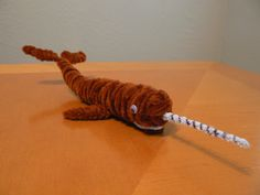 Narwhal- the unicorn whale of the Arctic Pipe Cleaner Projects, Pipe Cleaner Art, Pipe Cleaner Animals, Pipe Cleaners, Crafts To Make, Crafts For Kids, Arts And Crafts, Diy Pipe, Magic Treehouse