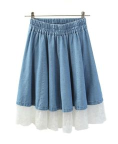 Elastic Waist Denim Skater Skirt with Lace Trims