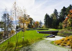 Gluck+, collection of buildings, Lake House, Boathouse on a lake, green roof...