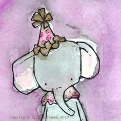 Childdren's Art -- Esmerelda the Toy Elephant -- 8x8 Archival Print