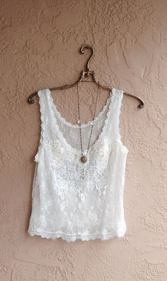 Sheer sequins Romantic Wedding  Lace and crochet details camisole with rosettes and fringe bohemian gypsy goddess on Etsy, $45.00