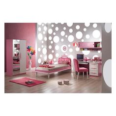 Unique Pink Bedroom for Teen Girls InHousesDesign ❤ liked on Polyvore