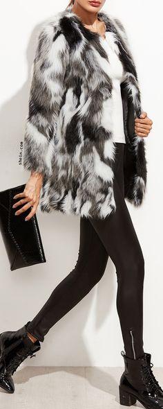 SHEINFaux Fur Open Front Fuzzy Coat
